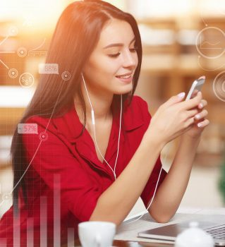 Young business woman using phone in coffee shop. Successful business woman. Business infographic